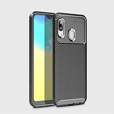Samsung Galaxy A20e用シリコンケース ソフトタッチラバー ツイル カバー サムスン ブラック