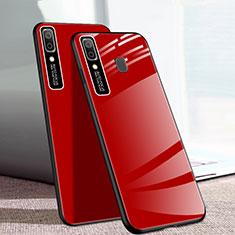 Samsung Galaxy A20e用ハイブリットバンパーケース プラスチック 鏡面 カバー サムスン レッド
