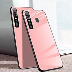 Samsung Galaxy A20e用ハイブリットバンパーケース プラスチック 鏡面 カバー サムスン ピンク