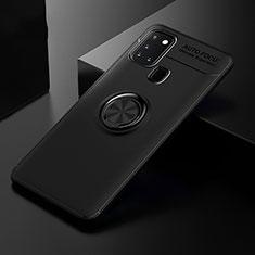 Samsung Galaxy A21s用極薄ソフトケース シリコンケース 耐衝撃 全面保護 アンド指輪 マグネット式 バンパー サムスン ブラック