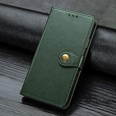 Samsung Galaxy A21s用手帳型 レザーケース スタンド カバー サムスン グリーン