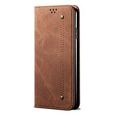 Samsung Galaxy A21s用手帳型 布 スタンド サムスン ブラウン