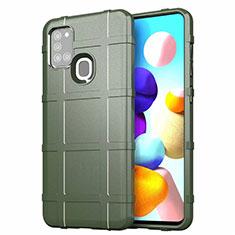Samsung Galaxy A21s用360度 フルカバー極薄ソフトケース シリコンケース 耐衝撃 全面保護 バンパー S01 サムスン グリーン