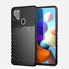Samsung Galaxy A21s用シリコンケース ソフトタッチラバー ツイル カバー サムスン ブラック
