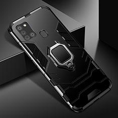 Samsung Galaxy A21s用ハイブリットバンパーケース プラスチック アンド指輪 マグネット式 サムスン ブラック