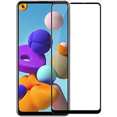Samsung Galaxy A21s用強化ガラス フル液晶保護フィルム サムスン ブラック