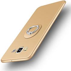 Samsung Galaxy A3 SM-300F用極薄ソフトケース シリコンケース 耐衝撃 全面保護 アンド指輪 バンパー サムスン ゴールド