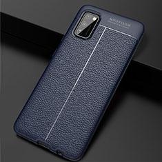 Samsung Galaxy A41用シリコンケース ソフトタッチラバー レザー柄 カバー サムスン ネイビー