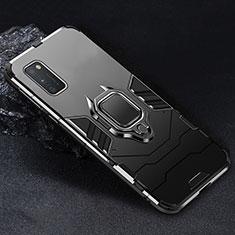 Samsung Galaxy A41用ハイブリットバンパーケース プラスチック アンド指輪 マグネット式 サムスン ブラック