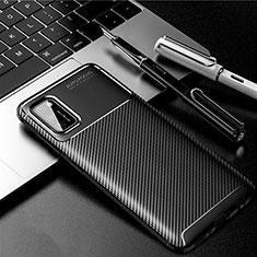 Samsung Galaxy A41用シリコンケース ソフトタッチラバー ツイル カバー サムスン ブラック