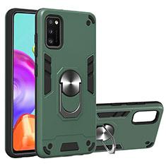 Samsung Galaxy A41用ハイブリットバンパーケース プラスチック アンド指輪 マグネット式 S01 サムスン グリーン