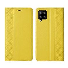 Samsung Galaxy A42 5G用手帳型 レザーケース スタンド カバー サムスン イエロー