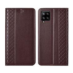 Samsung Galaxy A42 5G用手帳型 レザーケース スタンド カバー サムスン ブラウン