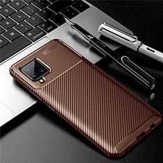 Samsung Galaxy A42 5G用シリコンケース ソフトタッチラバー ツイル カバー サムスン ブラウン