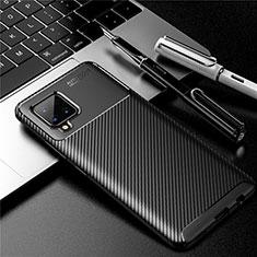 Samsung Galaxy A42 5G用シリコンケース ソフトタッチラバー ツイル カバー サムスン ブラック