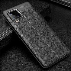 Samsung Galaxy A42 5G用シリコンケース ソフトタッチラバー レザー柄 カバー サムスン ブラック
