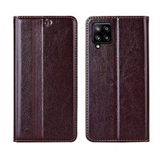 Samsung Galaxy A42 5G用手帳型 レザーケース スタンド カバー L01 サムスン ブラウン