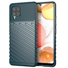 Samsung Galaxy A42 5G用シリコンケース ソフトタッチラバー ツイル カバー S01 サムスン モスグリー