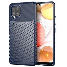 Samsung Galaxy A42 5G用シリコンケース ソフトタッチラバー ツイル カバー S01 サムスン ネイビー