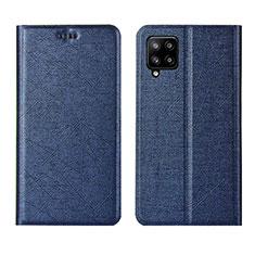 Samsung Galaxy A42 5G用手帳型 レザーケース スタンド カバー L02 サムスン ネイビー