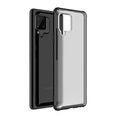 Samsung Galaxy A42 5G用ハイブリットバンパーケース クリア透明 プラスチック 鏡面 カバー サムスン ブラック