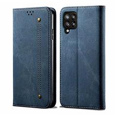 Samsung Galaxy A42 5G用手帳型 布 スタンド サムスン ネイビー