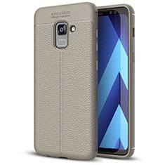 Samsung Galaxy A5 (2018) A530F用シリコンケース ソフトタッチラバー レザー柄 サムスン グレー