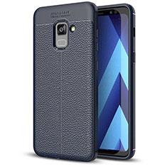 Samsung Galaxy A5 (2018) A530F用シリコンケース ソフトタッチラバー レザー柄 サムスン ネイビー