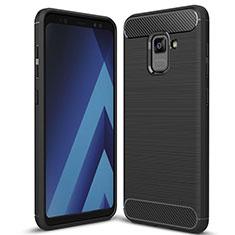 Samsung Galaxy A5 (2018) A530F用シリコンケース ソフトタッチラバー ツイル カバー サムスン ブラック
