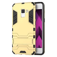 Samsung Galaxy A5 (2018) A530F用ハイブリットバンパーケース スタンド プラスチック 兼シリコーン サムスン ゴールド