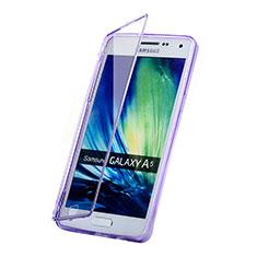 Samsung Galaxy A5 Duos SM-500F用ソフトケース フルカバー クリア透明 サムスン パープル