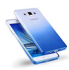 Samsung Galaxy A5 Duos SM-500F用極薄ソフトケース グラデーション 勾配色 クリア透明 サムスン ネイビー