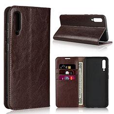 Samsung Galaxy A50用手帳型 レザーケース スタンド カバー L01 サムスン ブラウン