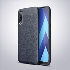 Samsung Galaxy A50用シリコンケース ソフトタッチラバー レザー柄 サムスン ネイビー