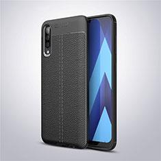 Samsung Galaxy A50用シリコンケース ソフトタッチラバー レザー柄 サムスン ブラック