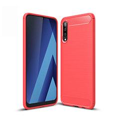 Samsung Galaxy A50用シリコンケース ソフトタッチラバー ライン カバー サムスン レッド
