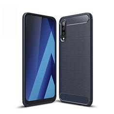 Samsung Galaxy A50用シリコンケース ソフトタッチラバー ライン カバー サムスン ネイビー