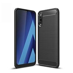 Samsung Galaxy A50用シリコンケース ソフトタッチラバー ライン カバー サムスン ブラック