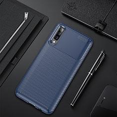 Samsung Galaxy A50用シリコンケース ソフトタッチラバー ツイル カバー サムスン ネイビー