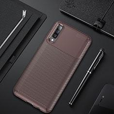 Samsung Galaxy A50用シリコンケース ソフトタッチラバー ツイル カバー サムスン ブラウン