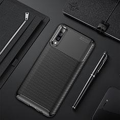 Samsung Galaxy A50用シリコンケース ソフトタッチラバー ツイル カバー サムスン ブラック