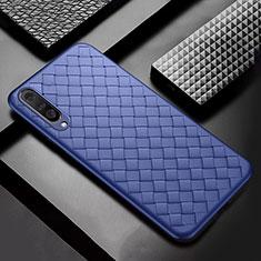Samsung Galaxy A50用シリコンケース ソフトタッチラバー レザー柄 S01 サムスン ネイビー