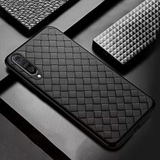 Samsung Galaxy A50用シリコンケース ソフトタッチラバー レザー柄 S01 サムスン ブラック