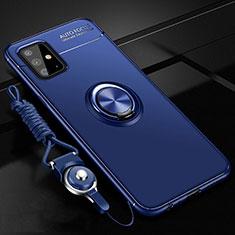 Samsung Galaxy A51 4G用極薄ソフトケース シリコンケース 耐衝撃 全面保護 アンド指輪 マグネット式 バンパー サムスン ネイビー