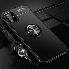 Samsung Galaxy A51 4G用極薄ソフトケース シリコンケース 耐衝撃 全面保護 アンド指輪 マグネット式 バンパー サムスン ブラック