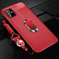 Samsung Galaxy A51 4G用シリコンケース ソフトタッチラバー レザー柄 アンド指輪 マグネット式 サムスン レッド
