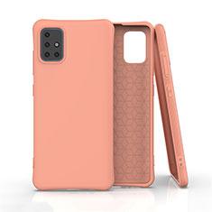 Samsung Galaxy A51 4G用360度 フルカバー極薄ソフトケース シリコンケース 耐衝撃 全面保護 バンパー S01 サムスン オレンジ