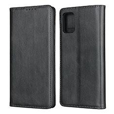 Samsung Galaxy A51 4G用手帳型 レザーケース スタンド カバー L04 サムスン ブラック