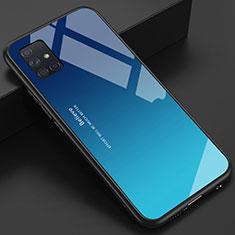 Samsung Galaxy A51 4G用ハイブリットバンパーケース プラスチック 鏡面 カバー サムスン ブルー