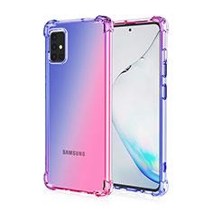 Samsung Galaxy A51 4G用極薄ソフトケース グラデーション 勾配色 クリア透明 サムスン ネイビー
